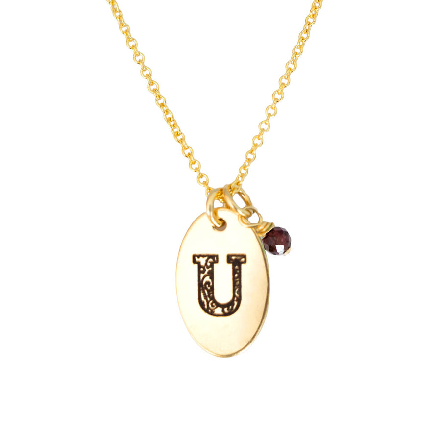 U - Birthstone Love Letters Necklace Gold and Red Garnet