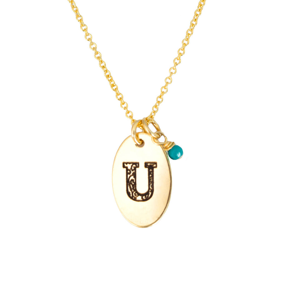 U - Birthstone Love Letters Necklace Gold and Turquoise