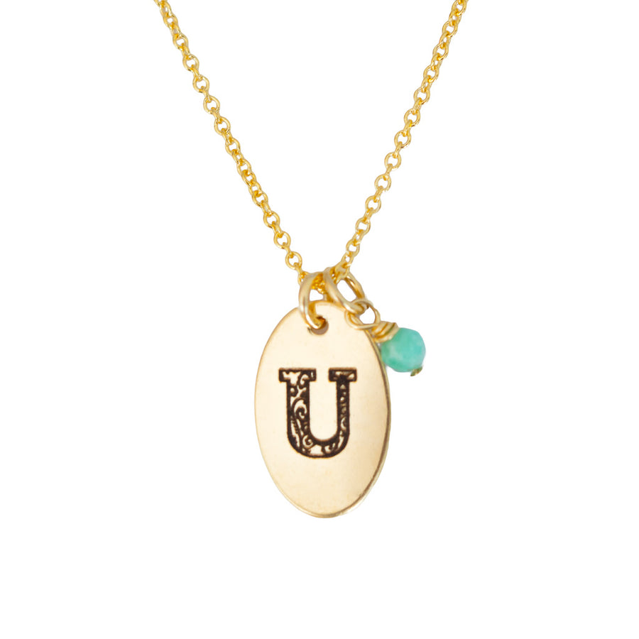 U - Birthstone Love Letters Necklace Gold and Emerald