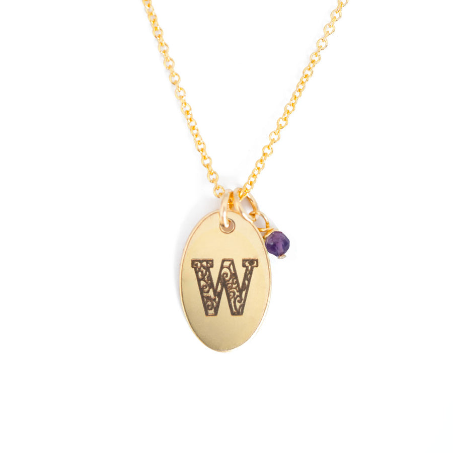 W - Birthstone Love Letters Necklace Gold and Amethyst