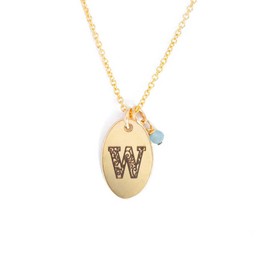 W - Birthstone Love Letters Necklace Gold and Aquamarine