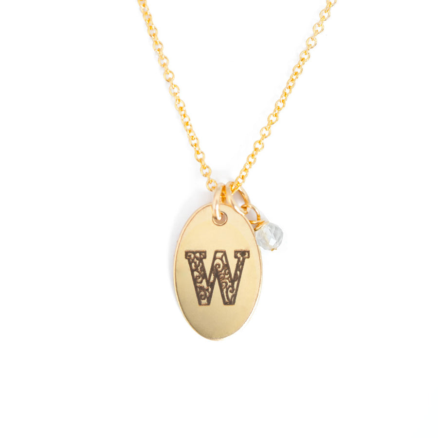 W - Birthstone Love Letters Necklace Gold and Clear Quartz