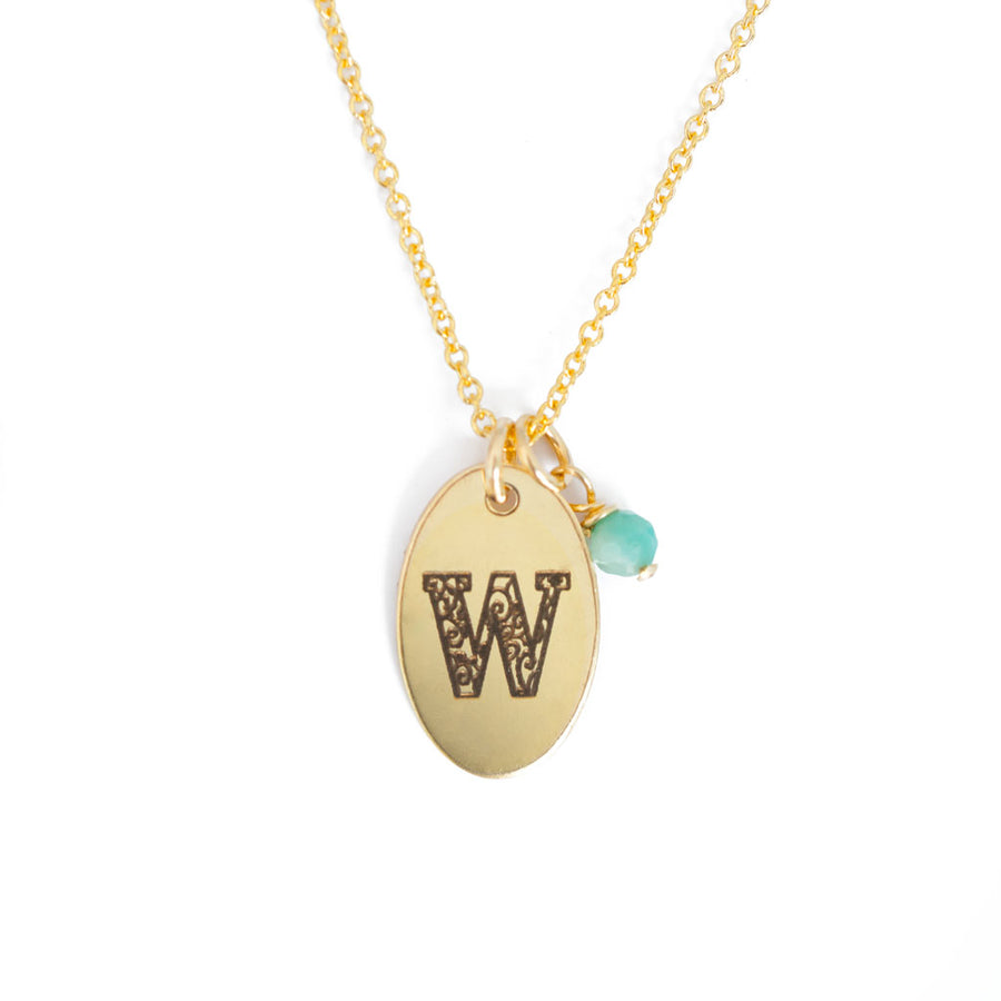 W - Birthstone Love Letters Necklace Gold and Emerald