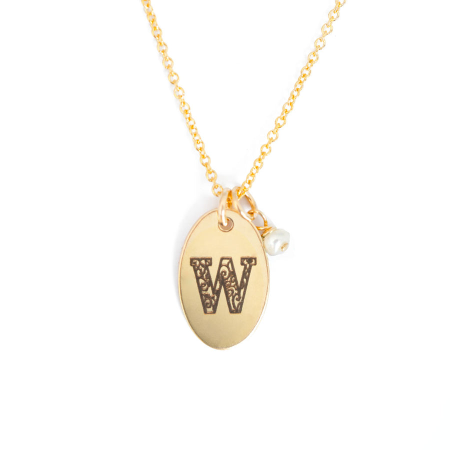 W - Birthstone Love Letters Necklace Gold and Pearl