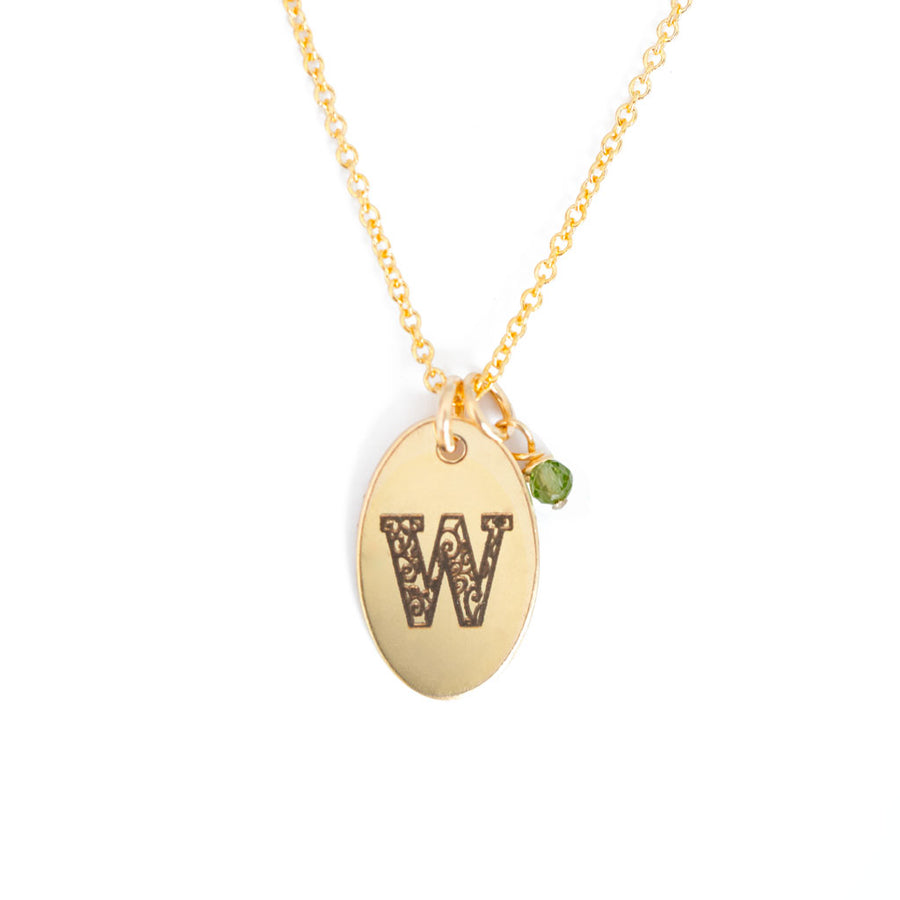 W - Birthstone Love Letters Necklace Gold and Peridot