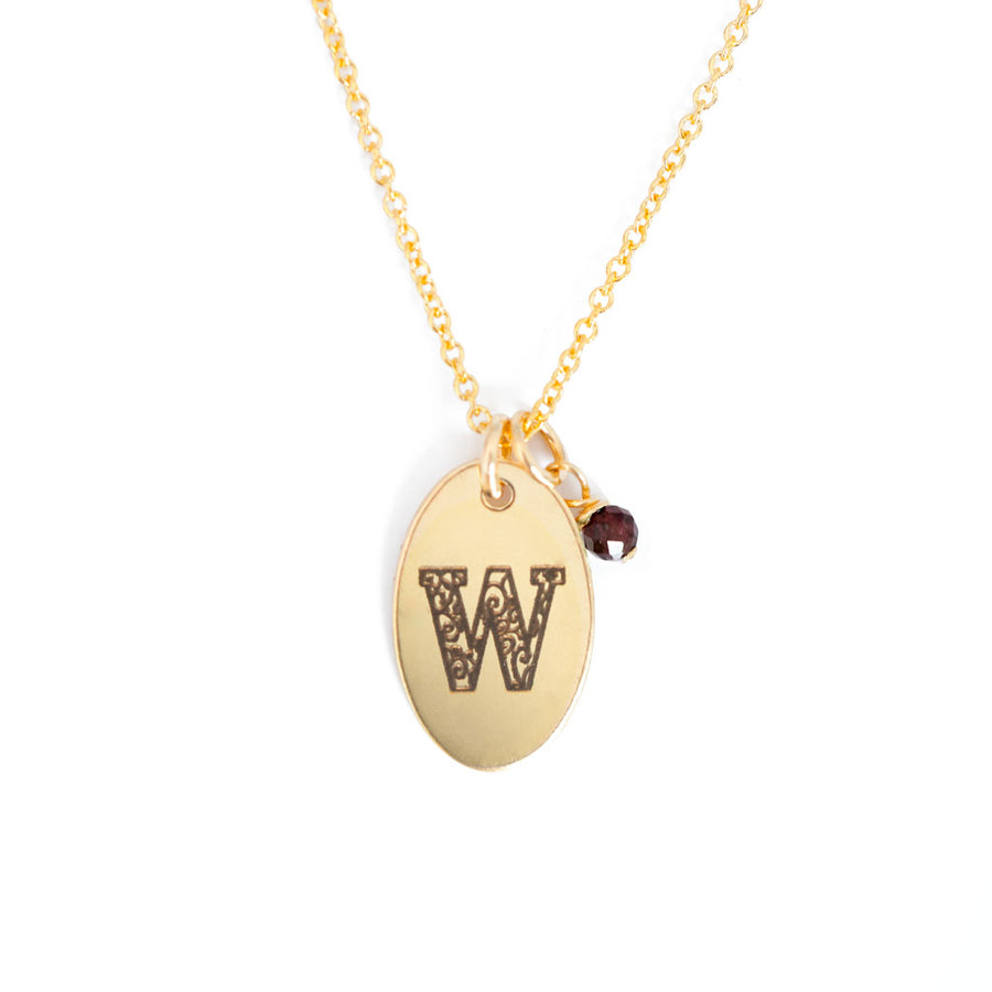 W - Birthstone Love Letters Necklace Gold and Red Garnet