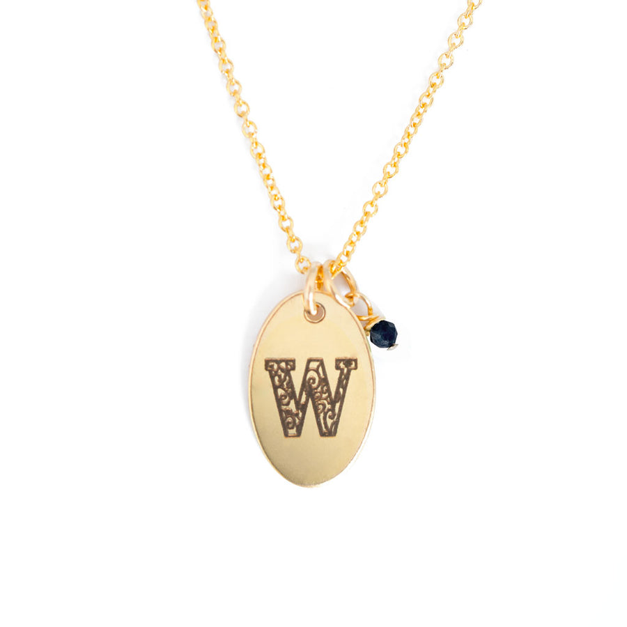 W - Birthstone Love Letters Necklace Gold and Sapphire