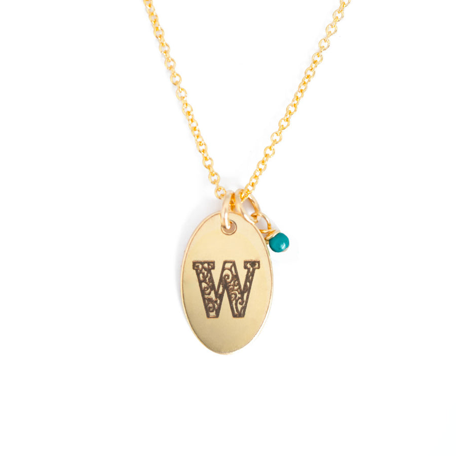 W - Birthstone Love Letters Necklace Gold and Turquoise
