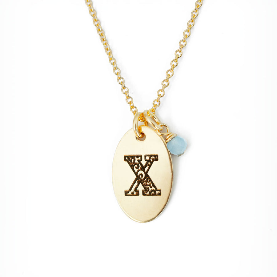 X - Birthstone Love Letters Necklace Gold and Aquamarine
