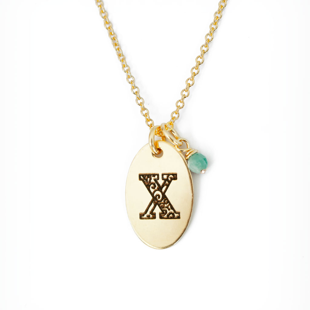 X - Birthstone Love Letters Necklace Gold and Emerald