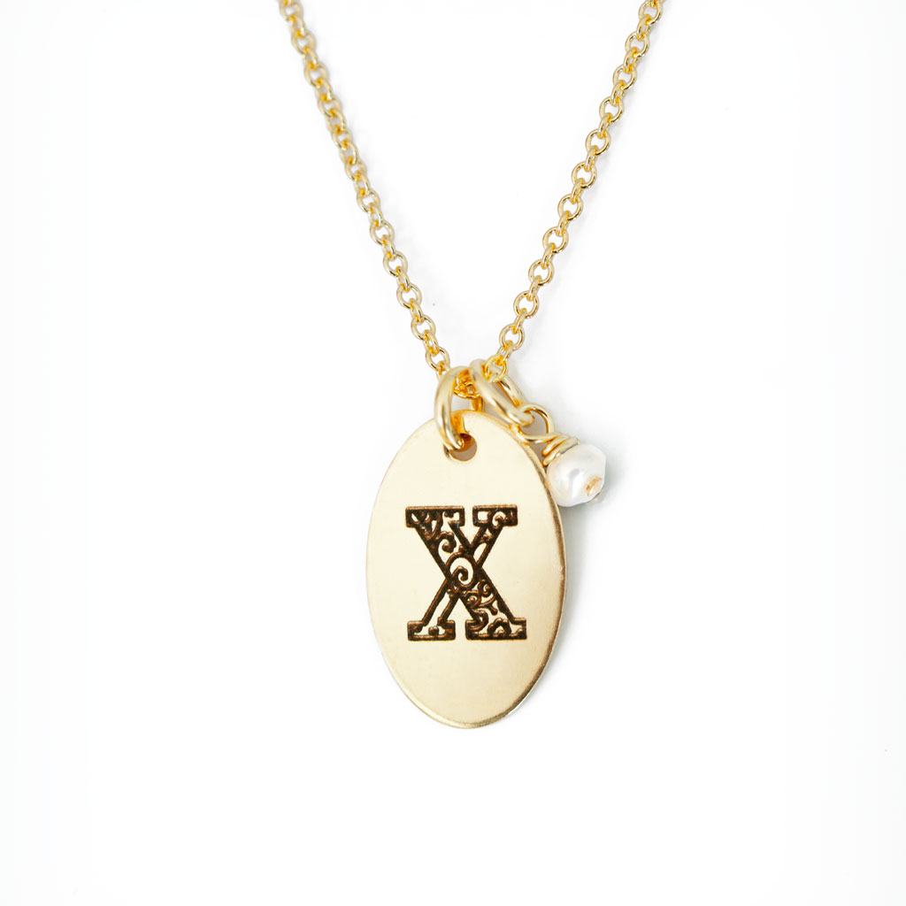 X - Birthstone Love Letters Necklace Gold and Pearl