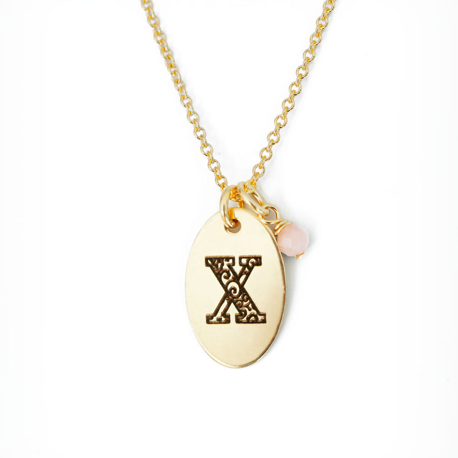 X - Birthstone Love Letters Necklace Gold and Pink Opal