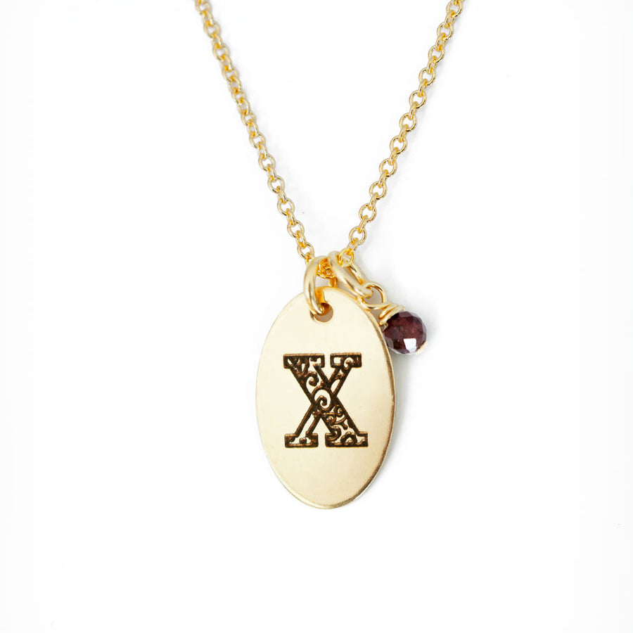 X - Birthstone Love Letters Necklace Gold and Red Garnet