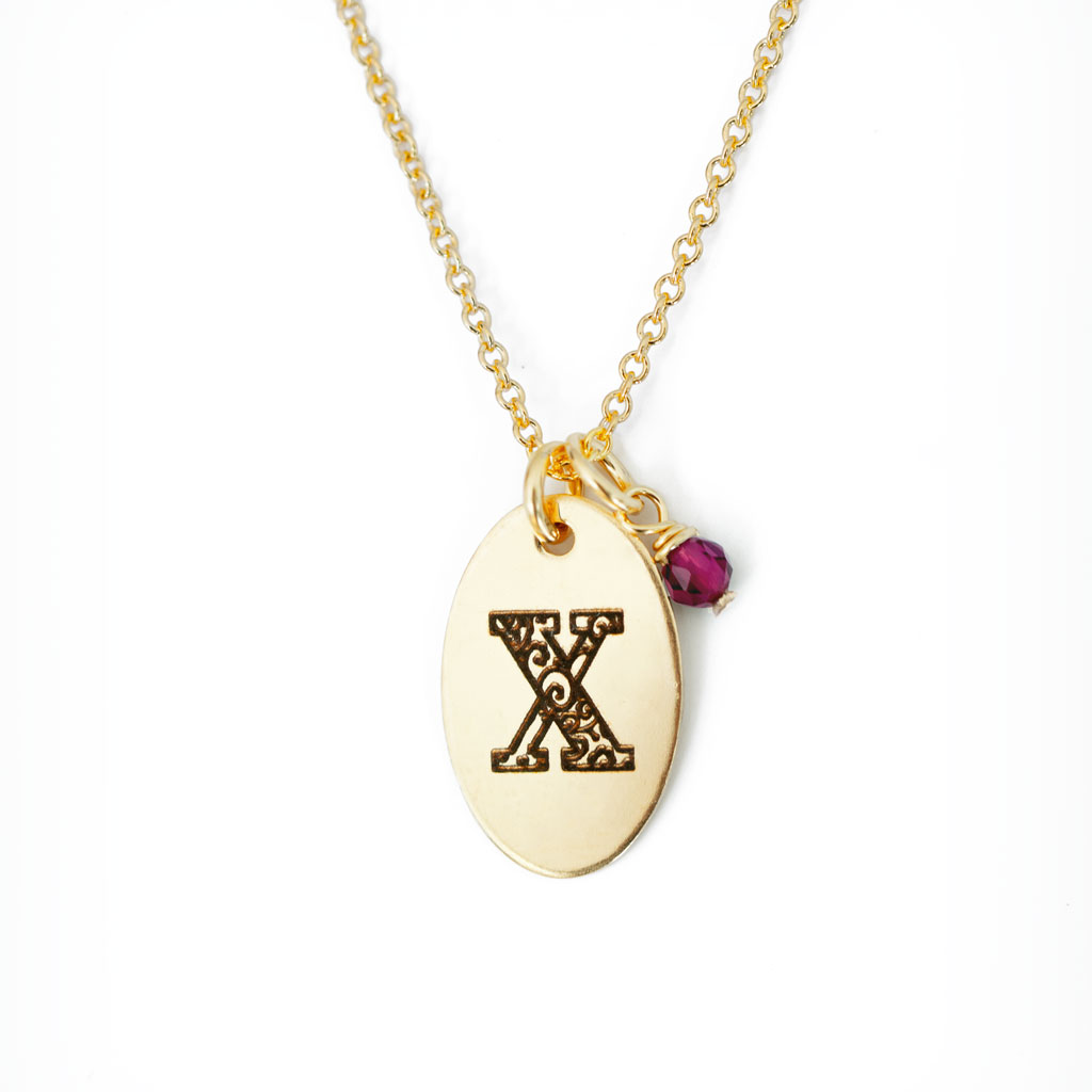 X - Birthstone Love Letters Necklace Gold and Ruby