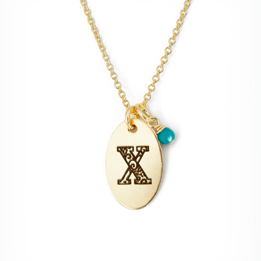 X - Birthstone Love Letters Necklace Gold and Turquoise
