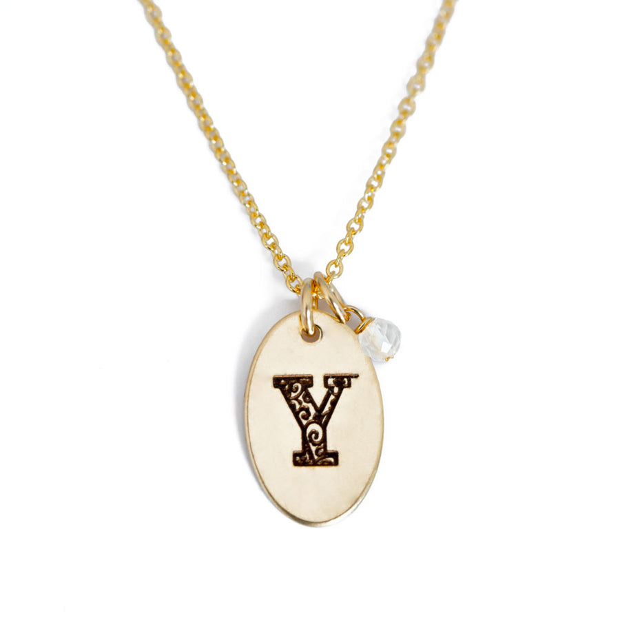 Y - Birthstone Love Letters Necklace Gold and Clear Quartz