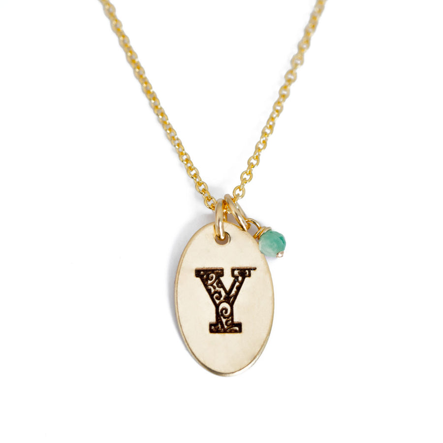Y - Birthstone Love Letters Necklace Gold and Emerald