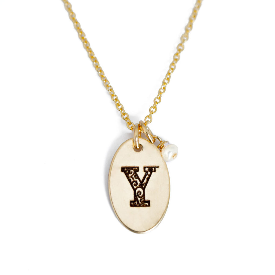 Y - Birthstone Love Letters Necklace Gold and Pearl
