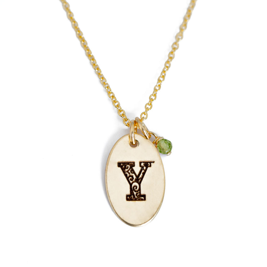 Y - Birthstone Love Letters Necklace Gold and Peridot
