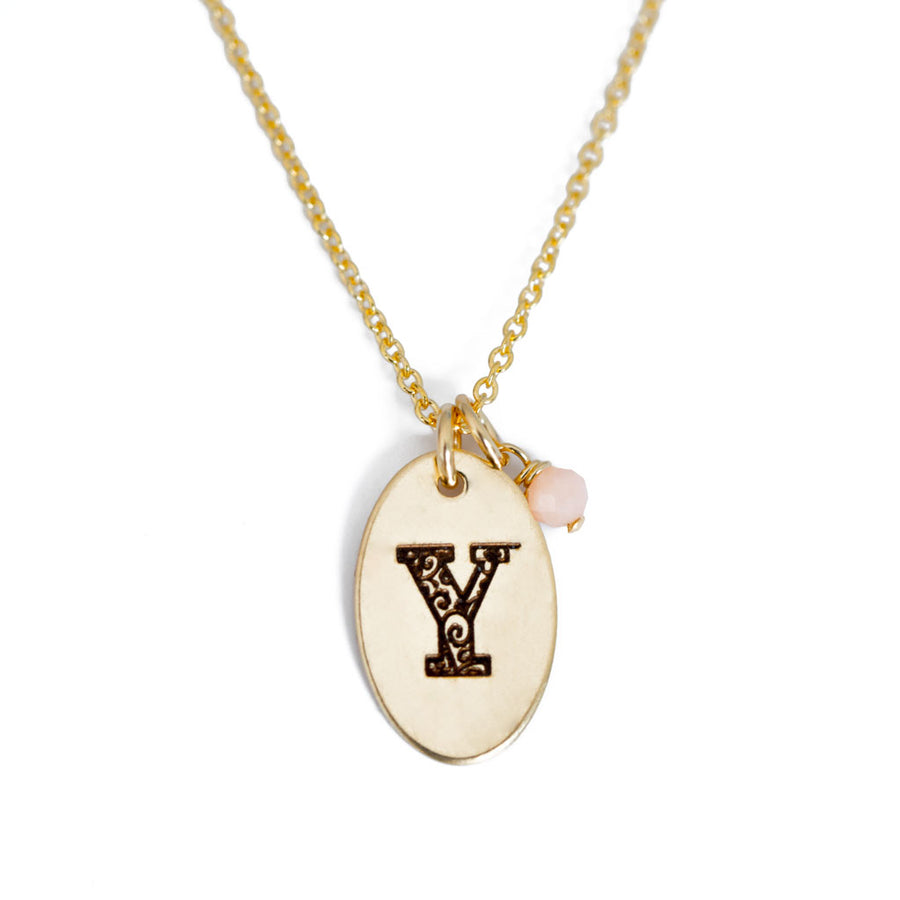 Y - Birthstone Love Letters Necklace Gold and pink Opal