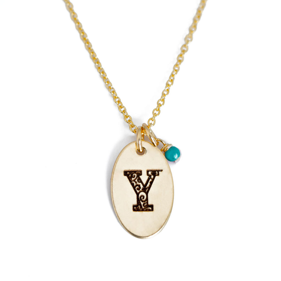 Y - Birthstone Love Letters Necklace Gold and Turquoise