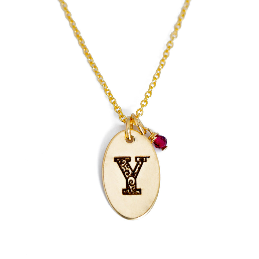 Y - Birthstone Love Letters Necklace Gold and Ruby