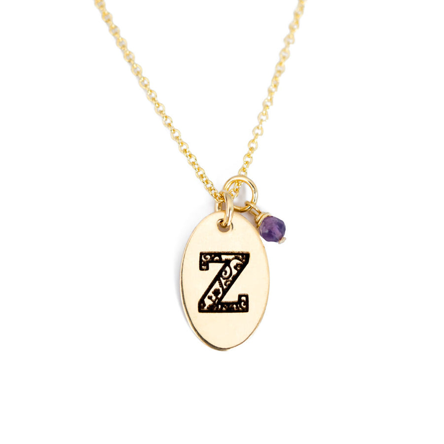 Z - Birthstone Love Letters Necklace Gold and Amethyst