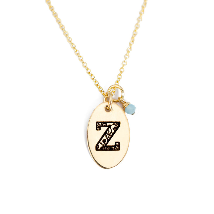 Z - Birthstone Love Letters Necklace Gold and Aquamarine
