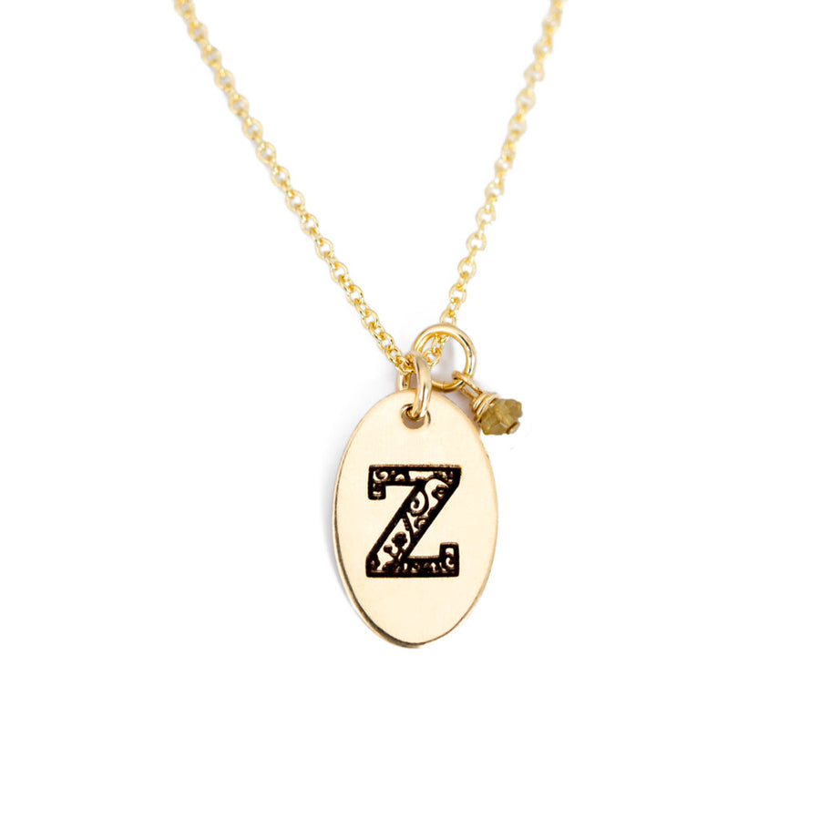 Z - Birthstone Love Letters Necklace Gold and Citrine