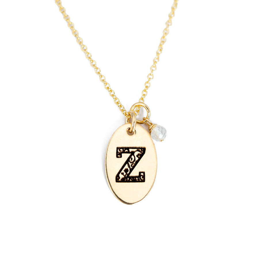 Z - Birthstone Love Letters Necklace Gold and Clear Quartz