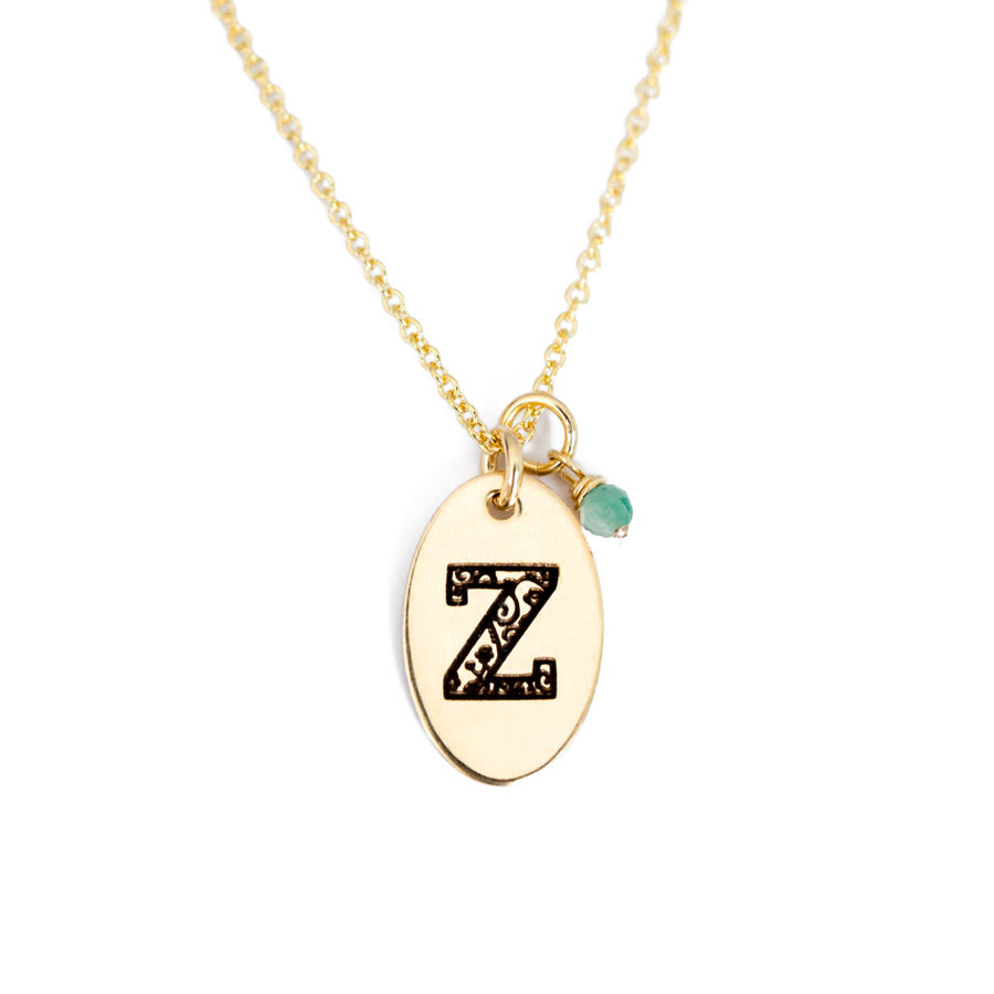 Z - Birthstone Love Letters Necklace Gold and Emerald