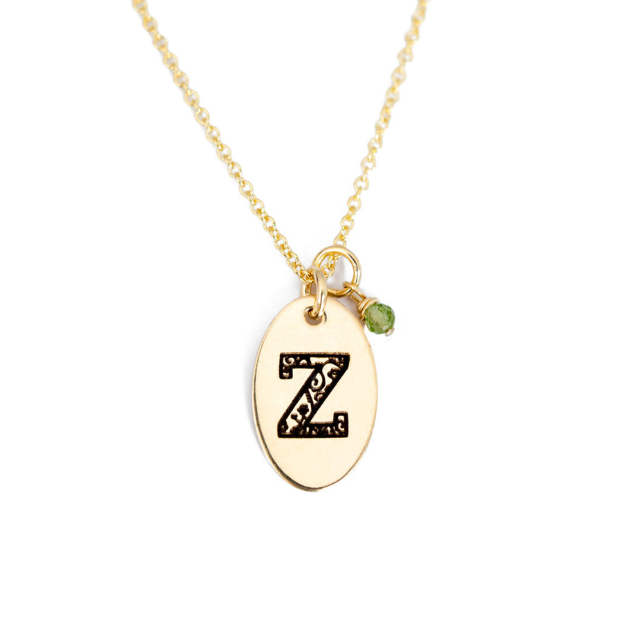 Z - Birthstone Love Letters Necklace Gold and Peridot