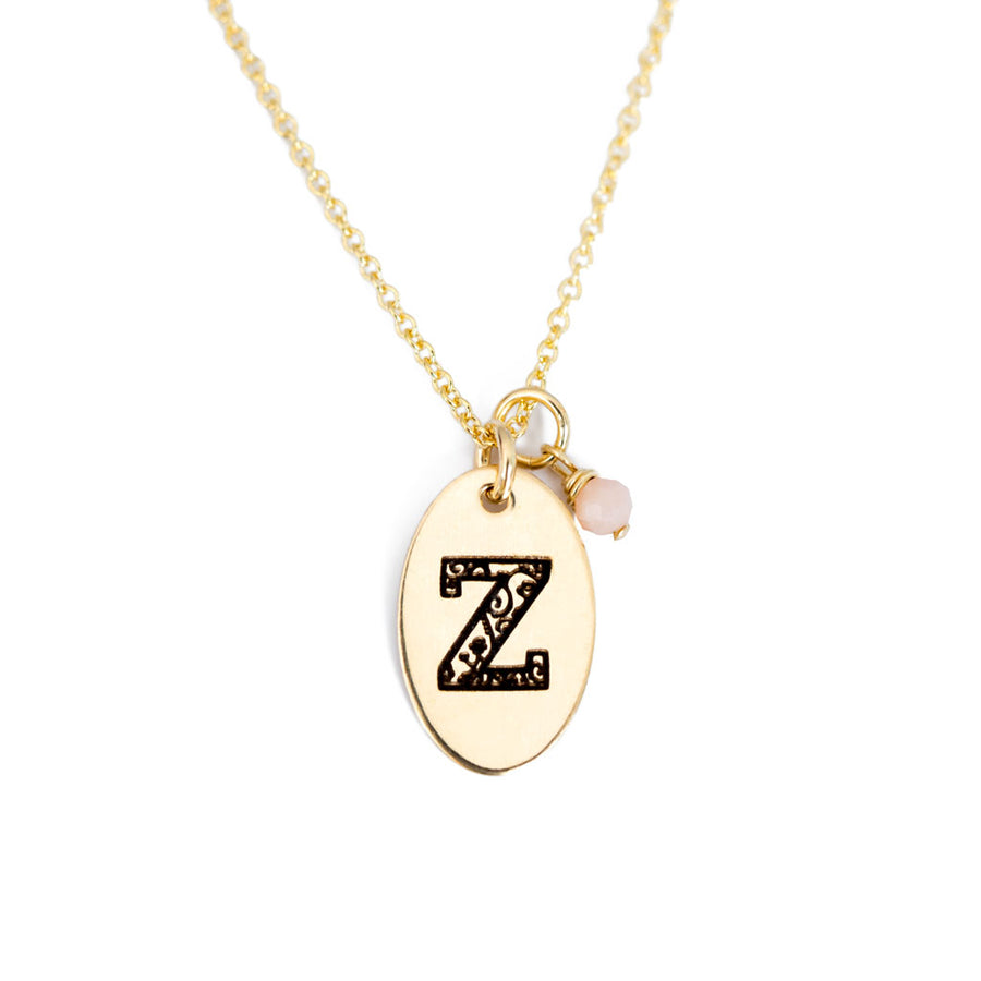 Z - Birthstone Love Letters Necklace Gold and Pink Opal