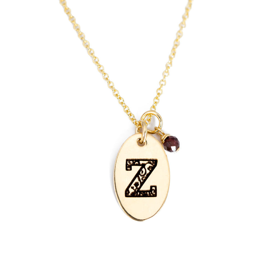 Z - Birthstone Love Letters Necklace Gold and Red Garnet