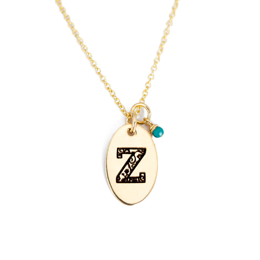 Z - Birthstone Love Letters Necklace Gold and Turquoise