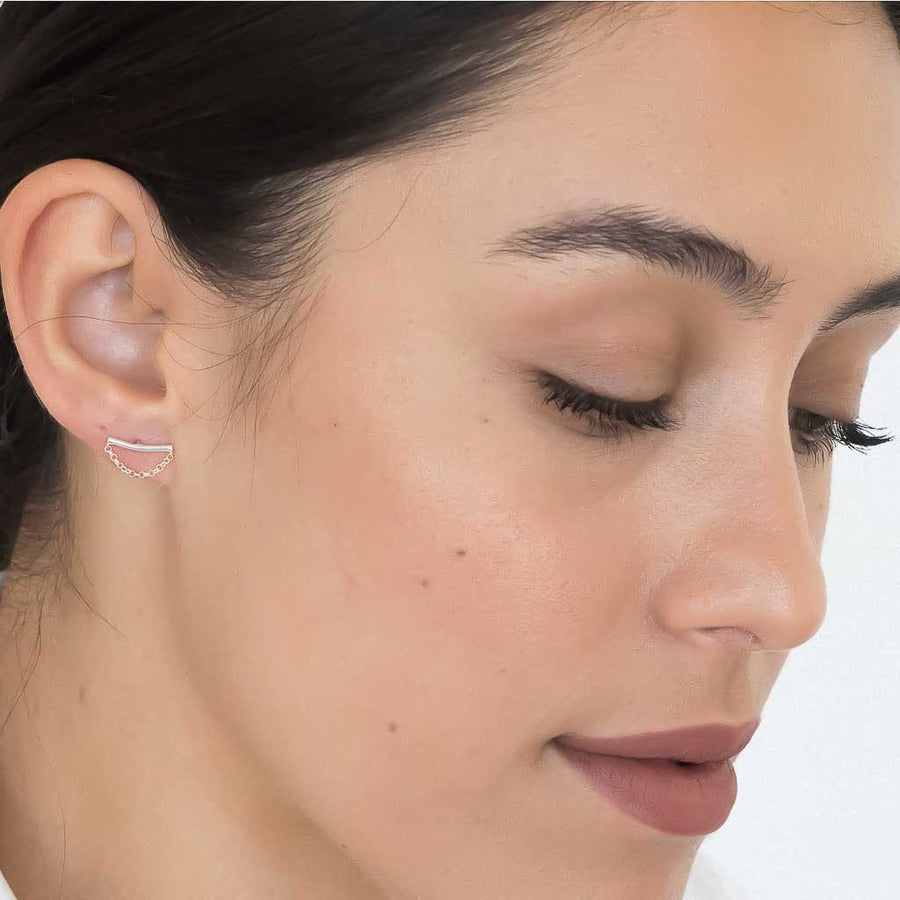 model wearing Cresent Moon earrings sterling silver