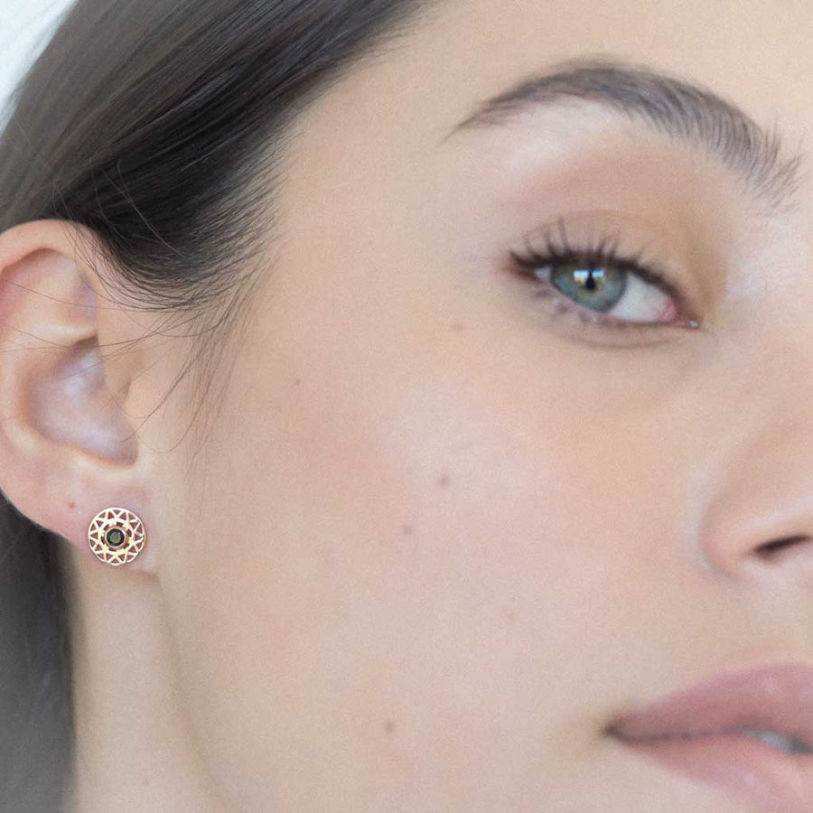 model wearing taraxacum earrings rose gold black spinel