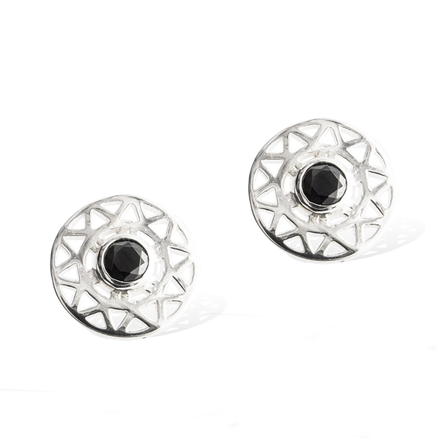 taraxacum-earring-sterling silver black spinel-front