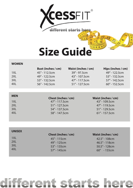 XcessFIT size guide
