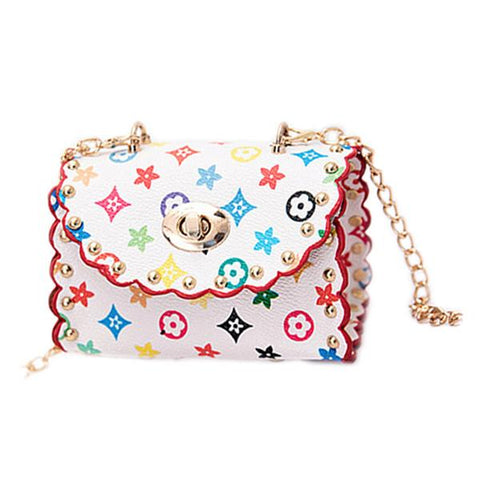White Colorful Mini Purse