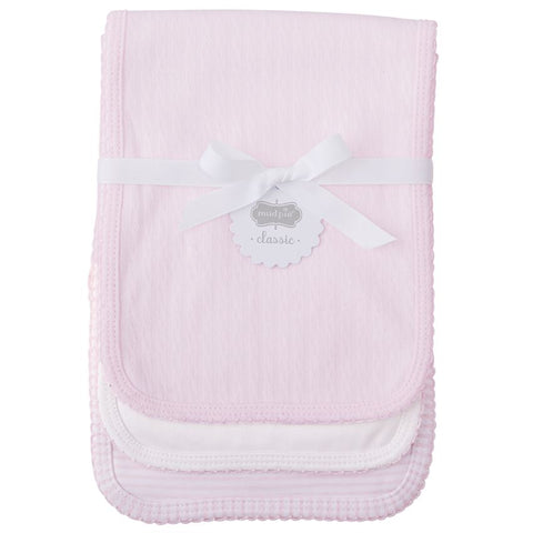 Pink Pointelle Set of 3 Burp Cloths