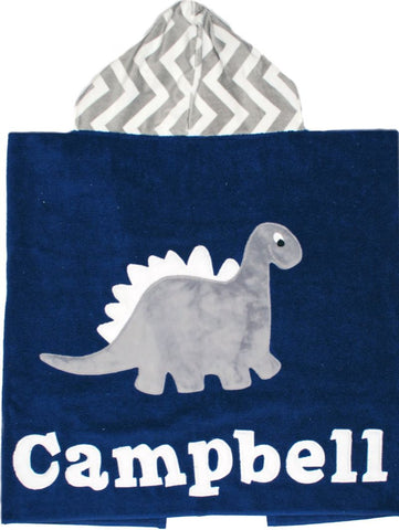 Dino Personalized Luxe Terry Hooded Towel