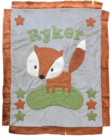 Personalized Fox Cuddly Rerversible Blanket