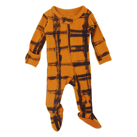 Rebel Butternut Organic Plaid Zip Footie