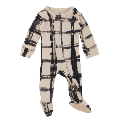 Rebel Oatmeal Organic Plaid Zipper Footie