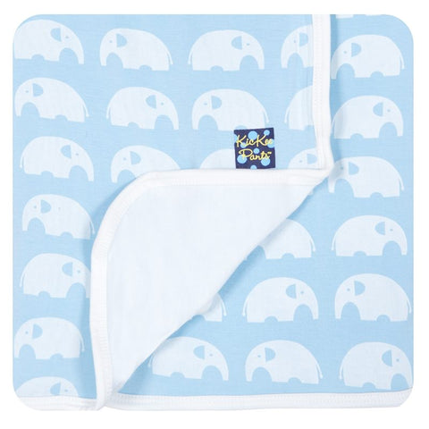 Print Double Sided Bamboo Stroller/Swaddle Receiving Blanket in Pond Elephant Print