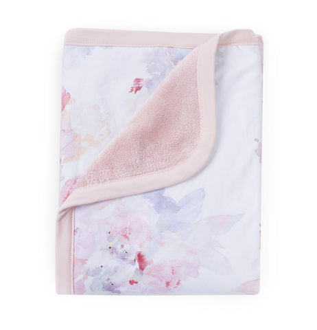 Prim Soft Floral Watercolor Reversible Blanket