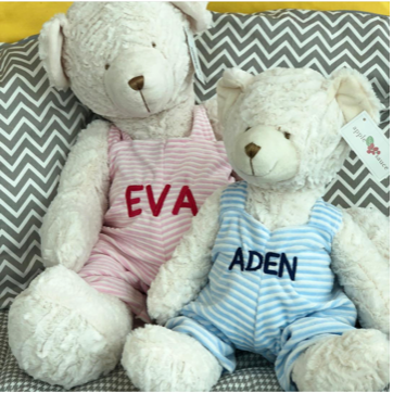 Personalized Plush bear with Striped Overall 18""