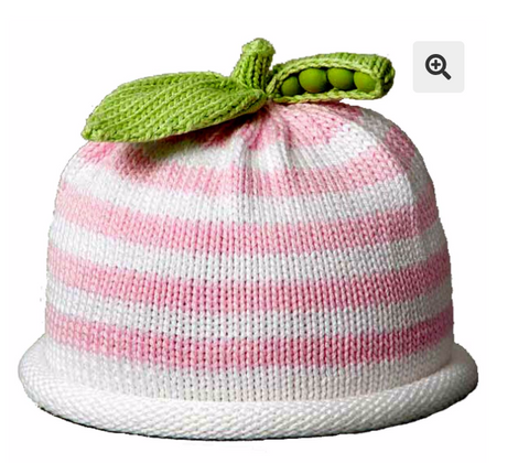 Pink/White Striped Cotton  Pea Hat