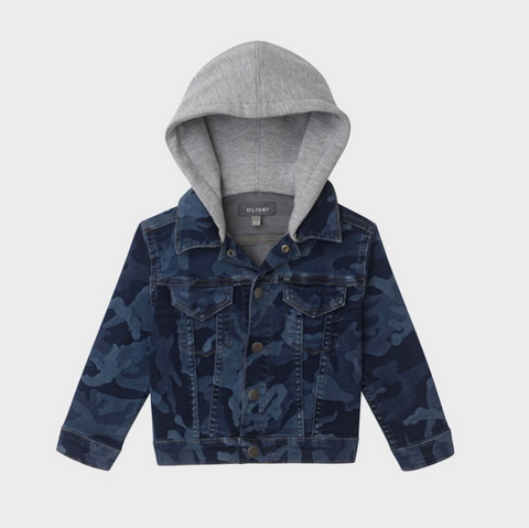 Sustainable Blue Camo Denim Trucker Jacket with Jersey Hood and Sleeves